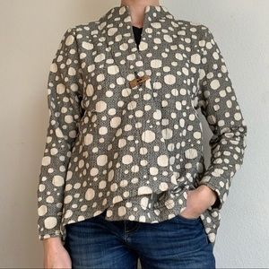 Focus casual life one button polka dot jacket